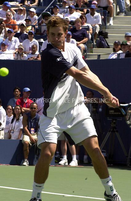 Andy Roddick at  Arthur Ashe Kids Day to kick off the US Open. New York, August 24, 2003. Please byline: NY Photo Press.   ..*PAY-PER-USE*      ....NY Photo Press:  ..phone (646) 267-6913;   ..e-mail: info@nyphotopress.com