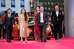 Tenniel Chu and his wife Carmen, English Football Player Paul Scholes, and Actress Charmaine Sheh walk the Red Carpet event at the World Celebrity Pro-Am 2016 Mission Hills China Golf Tournament on 20 October 2016, in Haikou, China. Photo by Victor Fraile / Power Sport Images