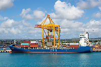 Bridgetown, Barbados.  Off-loading Container from Container Ship.