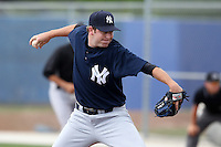 New York Yankees minor league player pitcher Josh Schmidt #48 delivers a pitch during a game vs the Toronto Blue Jays at the Englebert Minor League Complex in Dunedin, Florida;  March 21, 2011.  Photo By Mike Janes/Four Seam Images