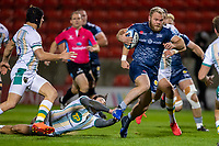 20th November 2020; AJ Bell Stadium, Salford, Lancashire, England; English Premiership Rugby, Sale Sharks versus Northampton Saints; Akker van Der Merwe of Sale Sharks on his way to scoring a try