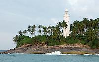 Barberyn (Beruwala) Lighthouse stands sentinel on an island near the entrance of Beruwala fishing harbour -southwest Sri Lanka