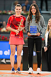 Romanian Simona Halep and the winner of the sub16 championship Lucia Cortez during WTA Finals Mutua Madrid Open Tennis 2016 in Madrid, May 07, 2016. (ALTERPHOTOS/BorjaB.Hojas)