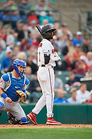 Rochester Red Wings Nick Gordon (1) at bat during an International League game against the Buffalo Bisons on May 31, 2019 at Frontier Field in Rochester, New York.  Rochester defeated Buffalo 5-4 in ten innings.  Reese McGuire is catching.  (Mike Janes/Four Seam Images)