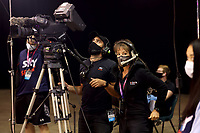 Sky sports staff wear face masks during the Constellation Cup international netball series match between New Zealand Silver Ferns and Australian Diamonds at Christchurch Arena in Christchurch, New Zealand on Tuesday, 2 March 2021. Photo: Martin Hunter / lintottphoto.co.nz