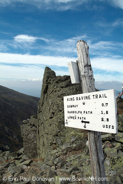 Trail junction of King Ravine Trail and Air Line Trail in the White Mountains, New Hampshire USA