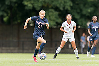 NEWTON, MA - AUGUST 29: Abbey Jones #27 of University of Connecticut dribbles during a game between University of Connecticut and Boston College at Newton Campus Soccer Field on August 29, 2021 in Newton, Massachusetts.