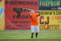 Batavia Muckdogs young fan participates in an on field promotion, the Chicken Toss, during a game against the State College Spikes on June 23, 2016 at Dwyer Stadium in Batavia, New York.  State College defeated Batavia 8-4.  (Mike Janes/Four Seam Images)