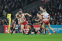 Billy Twelvetrees of Gloucester Rugby is tackled by Jamie Roberts of Harlequins during the Aviva Premiership Rugby match between Harlequins and Gloucester Rugby at Twickenham Stadium on Tuesday 27th December 2016 (Photo by Rob Munro/Stewart Communications)