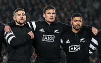 TJ Perenara, George Bridge and Richie Mo'unga line up before the Bledisloe Cup Rugby match between the New Zealand All Blacks and Australia Wallabies at Eden Park in Auckland, New Zealand on Saturday, 17 August 2019. Photo: Simon Watts / lintottphoto.co.nz