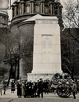 The C.P.R. wreath; a feature of the Last Post Fund for the Cenotaph,<br />  Dominion Square; Montreal<br /> <br /> <br /> [unknown]<br /> Picture, 1920<br /> <br /> PHOTO : Toronto Star Archives - AQP