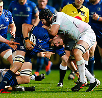 19th March 2021; RDS Arena, Dublin, Leinster, Ireland; Guinness Pro 14 Rugby, Leinster versus Ospreys; Josh Murphy of Leinster is tackled by Morgan Morris of Ospreys