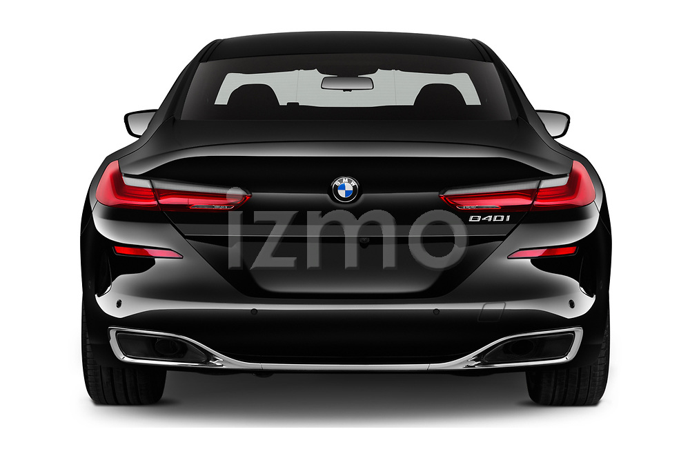 Straight rear view of a 2019 BMW 8 Series Basis 4 Door Sedan stock images