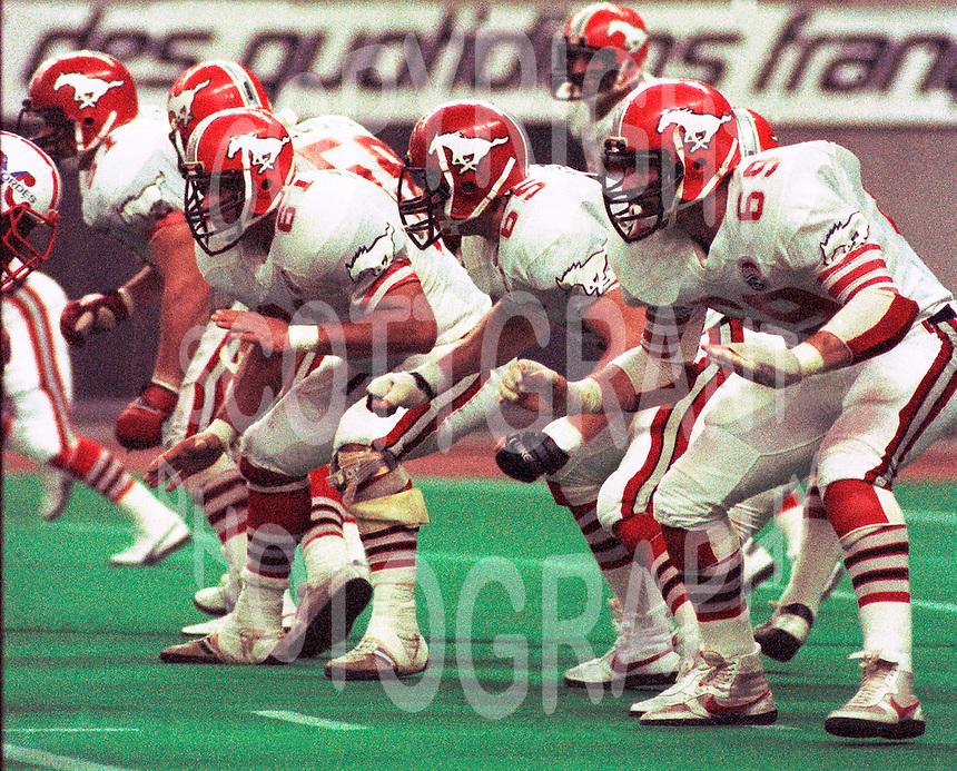 Jerry Dobrovolny, Dave Kirzinger, Wille Thomas, Calgary Stampeders 1983. Photo F. Scott Grant