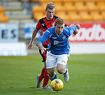 St Johnstone v Rangers...29.09.15   SPFL Development League  McDiarmid Park, Perth<br /> LIam Caddis gets away from Jamie Mills<br /> Picture by Graeme Hart.<br /> Copyright Perthshire Picture Agency<br /> Tel: 01738 623350  Mobile: 07990 594431