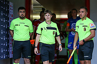 Referee Sylvie Deckers (M) and the assistant referees pictured before a female soccer game between Standard Femina de Liege and KAA Gent Ladies on the second match day of the 2021 - 2022 season of Belgian Scooore Womens Super League , Saturday 28 th of August 2021  in Liege, Belgium . PHOTO SPORTPIX | SEVIL OKTEM