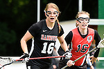 GER - Hannover, Germany, May 30: During the Women Lacrosse Playoffs 2015 match between DHC Hannover (black) and SC Frankfurt 1880 (red) on May 30, 2015 at Deutscher Hockey-Club Hannover e.V. in Hannover, Germany. Final score 23:3. (Photo by Dirk Markgraf / www.265-images.com) *** Local caption ***Anna Blank #16 of DHC Hannover, Hanna Kolass #16 of SC 1880 Frankfurt