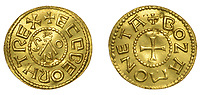 BNPS.co.uk (10202)558833<br /> Pic: DixNoonanWebb/BNPS<br /> <br /> A metal detectorist has unearthed a unique 1,200 year old Anglo-Saxon gold coin which is now tipped to sell for £200,000.<br /> <br /> The Gold Penny, or Mancus of 30 Pence, was struck on behalf of Penny of Ecgberht, King of the West Saxons, in the early 9th century.<br /> <br /> It was dug up by the unnamed finder in a field in the village of West Dean on the Wiltshire/Hampshire border in March 2020.<br /> <br /> The finder, who has been detectoring for eight years, was searching a five acre area of pasture at the bottom of a hill when he got a strong signal on his machine.