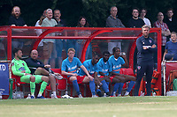 Dagenham manager Daryl McMahon (R) looks on from the dugout area during Hornchurch vs Dagenham & Redbridge, Friendly Match Football at Hornchurch Stadium on 24th July 2021