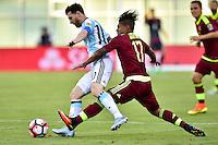 Foxborough, MA - Saturday June 18, 2016: Lionel Messi, Josef Martinez prior to a Copa America Centenario quarterfinal match between Argentina (ARG) and Venezuela (VEN)  at Gillette Stadium.