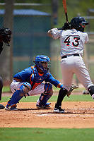 GCL Mets catcher Jose Mena (38) awaits a pitch while John Silviano (43) bats during a game against the GCL Marlins on August 3, 2018 at St. Lucie Sports Complex in Port St. Lucie, Florida.  GCL Mets defeated GCL Marlins 3-2.  (Mike Janes/Four Seam Images)