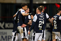 29th December 2020; Dens Park, Dundee, Scotland; Scottish Championship Football, Dundee FC versus Alloa Athletic; Osman Sow of Dundee is congratulated after scoring for 3-1 by Jordan Marshall