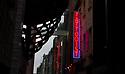London, UK. 02.02.2020. Tattooist neon sign, Soho, London, UK. Photograph © Jane Hobson.