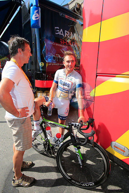 John Degenkolb (GER) Team Argos-Shimano heads to sign on in Saint-Girons before the start of Stage 9 during the 100th Edition of the Tour de France 2013 from Saint-Girons to Bagneres-de-Bigorre in the Pyrenees. 7th July 2013.<br /> (Photo: Eoin Clarke/ www.newsfile.ie)