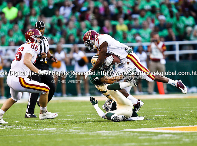 Iowa State Cyclones wide receiver Darius Reynolds (7) and Baylor Bears safety Mike Hicks (17) in action during the game between the Iowa State Cyclones and the Baylor Bears at the Floyd Casey Stadium in Waco, Texas. Baylor defeats Iowa State 49 to 26.