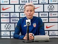 ORLANDO, FL - JANUARY 22: Megan Rapinoe #15 of the USWNT talks to the media on a zoom call after a game between Colombia and USWNT at Exploria stadium on January 22, 2021 in Orlando, Florida.