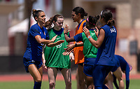 HOUSTON, TX - JUNE 12: Alex Morgan #13 of the USWNT celebrates during a training session at University of Houston on June 12, 2021 in Houston, Texas.