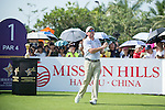 Rich Beem tees off the 1st hole during the World Celebrity Pro-Am 2016 Mission Hills China Golf Tournament on 22 October 2016, in Haikou, China. Photo by Marcio Machado / Power Sport Images