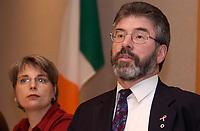 November 10,  2002, Montreal, Quebec, Canada; <br /> <br /> Sinn Fein-leader Gerry Adams adress the medias November 10, 2002 in  Montreal, CANADA.<br /> <br /> PHOTO : Agence Quebec Presse