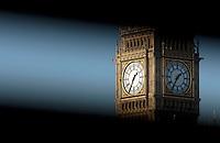 Big Ben seen through a bridge gap, London, UK
