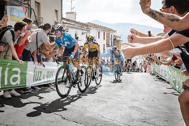 Enric Mas (ESP) Movistar Team and Primoz Roglic (SLO) Jumbo-Visma attack on the final climb during Stage 11 of La Vuelta d'Espana 2021, running 133.6km from Antequera to Valdepeñas de Jaén, Spain. 25th August 2021.     <br /> Picture: Cxcling | Cyclefile<br /> <br /> All photos usage must carry mandatory copyright credit (© Cyclefile | Cxcling)