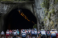 peloton rolling into a tunnel <br /> <br /> Stage 10 from Albertville to Valence (190.7km)<br /> 108th Tour de France 2021 (2.UWT)<br /> <br /> ©kramon
