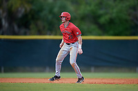 Ball State Cardinals right fielder Ross Messina (23) leads off during a game against the Mount St. Mary's Mountaineers on March 9, 2019 at North Charlotte Regional Park in Port Charlotte, Florida.  Ball State defeated Mount St. Mary's 12-9.  (Mike Janes/Four Seam Images)