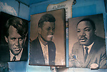 Coney Island New Jersey USA 1970s.  Posters of the  Presidents Kennedy and Martin Luther King.