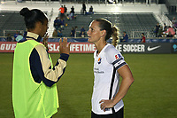 Cary, North Carolina  - Wednesday May 24, 2017: Christie Pearce and Rosana catch up after a regular season National Women's Soccer League (NWSL) match between the North Carolina Courage and the Sky Blue FC at Sahlen's Stadium at WakeMed Soccer Park. The Courage won the game 2-0.