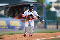 Bryan Torres (40) of the Richmond Flying Squirrels takes his lead off of third base against the Bowie Baysox at The Diamond on July 28, 2021, in Richmond Virginia. (Brian Westerholt/Four Seam Images)