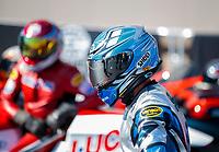 Oct 14, 2019; Concord, NC, USA; NHRA pro stock motorcycle rider Scotty Pollacheck during the Carolina Nationals at zMax Dragway. Mandatory Credit: Mark J. Rebilas-USA TODAY Sports
