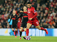 Liverpool's Joe Gomez under pressure from Atletico Madrid's Joao Felix<br /> <br /> Photographer Rich Linley/CameraSport<br /> <br /> UEFA Champions League Round of 16 Second Leg - Liverpool v Atletico Madrid - Wednesday 11th March 2020 - Anfield - Liverpool<br />  <br /> World Copyright © 2020 CameraSport. All rights reserved. 43 Linden Ave. Countesthorpe. Leicester. England. LE8 5PG - Tel: +44 (0) 116 277 4147 - admin@camerasport.com - www.camerasport.com
