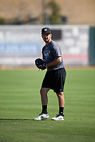 Modesto Nuts pitcher Austin Hutchison (19) warms up before a California League game against the Inland Empire 66ers on April 10, 2019 at San Manuel Stadium in San Bernardino, California. Inland Empire defeated Modesto 5-4 in 13 innings. (Zachary Lucy/Four Seam Images)