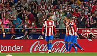 2nd October 2021; Estadio Wanda Metropolitano, Madrid, Spain; La Liga football;  Atletico de Madrid versus Futbol Club Barcelona; Luis Suarez and Koke celebrate the goal from Suarez for 2-0 for Atletico de Madrid in 44th minute