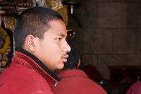 Bodhnath, Nepal.   Buddhist Monk at the Buddhist Stupa of Bodhnath.