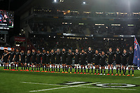 The All Blacks sing the national anthem during the Bledisloe Cup rugby match between the New Zealand All Blacks and Australia Wallabies at Eden Park in Auckland, New Zealand on Saturday, 14 August 2021. Photo: Simon Watts / lintottphoto.co.nz / bwmedia.co.nz