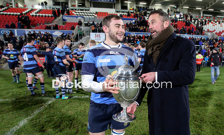 Wednesday 2nd January 2019 | MMW Junior Cup Final 2019<br /> <br /> Adam McGregor Dromore captain with sponsor Jan Cunningham of  MMW Legal after the 2019 MMW Ulster Junior Cup Final between Ballynahinch RFC and Dromore RFC at Kingspan Stadium, Ravenhill Park, Belfast, Northern Ireland. Photo by John Dickson / DICKSONDIGITAL