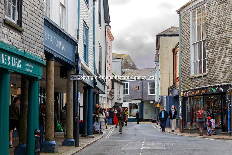 High Street in Totnes, England, UK. Wednesday 14 April 2021