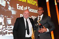 Photo: Richard Lane/Richard Lane Photography. London Wasps End of Season Awards Dinner, 09/05/2012. Community Player of the Year, Tom Varndell with Dave Larham.