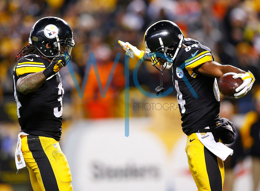 Antonio Brown #84 of the Pittsburgh Steelers celebrates his go-ahead touchdown in the second half with teammate DeAngelo Williams #34 against the Denver Broncos during the game at Heinz Field on December 20, 2015 in Pittsburgh, Pennsylvania. (Photo by Jared Wickerham/DKPittsburghSports)
